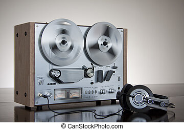 stereo, bandopnemer, audio, haspel, analoog