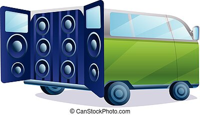 Stereo car music system icon, cartoon style