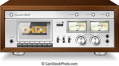 stereo, dek, ouderwetse , speler, vector, cassette, hifi, ...