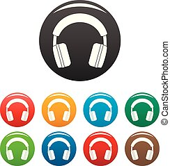 Stereo headphones icons set color