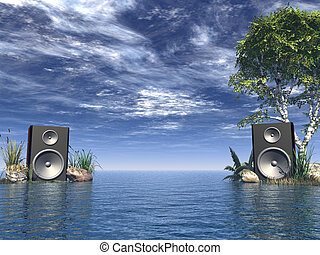 stereo - loudspeakers at the ocean - 3d illustration