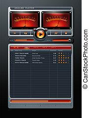 stereo, media, giocatore, vettore, musica, mp3, analogico