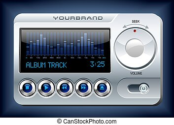 stereo, media, spettro, analizzatore, giocatore, vettore, musica, mp3
