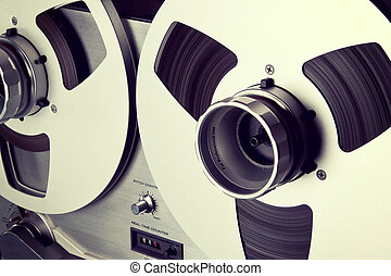 stereo, ponte, bobina, bobina, registratore, aperto,...