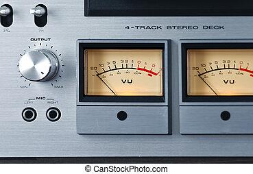 stereo, ponte, bobina, metro, nastro, vu, registratore, ...
