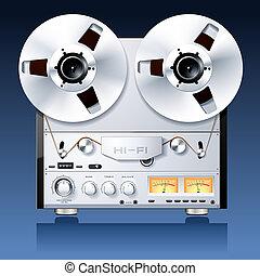 stereo, ponte, vendemmia, giocatore, nastro, hi-fi, bobina,...