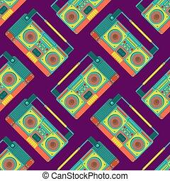 stereo, seamless., modello, boombox, struttura, discoteca, fondo., vettore, nastro, retro, registratore