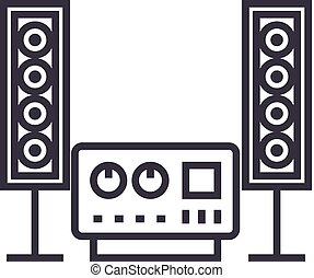 stereo, sound, hi-fi system vector line icon, sign, illustration on background, editable strokes