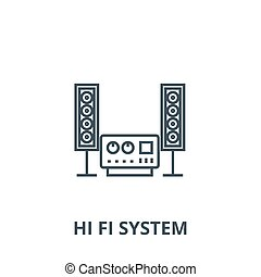Stereo, sound, hi fi system vector line icon, linear concept, outline sign, symbol