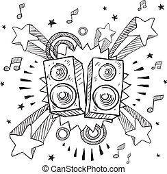 Stereo speaker explosion sketch - Doodle style stereo...