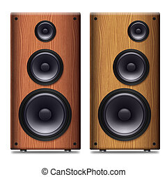 Stereo speaker - Two Stereo speakers with no cover on a...
