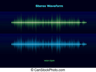 Stereo waveform - Blue and green music or sound stereo...