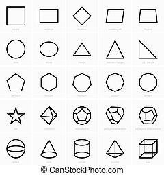 stereometric, planimetric, icônes, figures