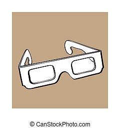 stereoscopic, anteojos de 3d, en, negro, plástico, marco