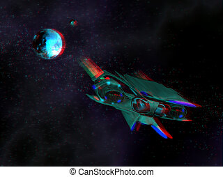 Stereoscopic effect with alien ship