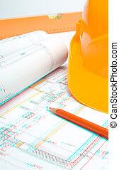Stereoscopic photo of blueprints