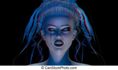 Stereoscopic Animation of a female Vampire