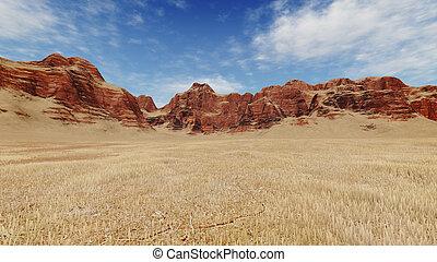 sterile, terre, rocce rosse