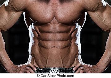 sterke, bodybuilder, met, zes pak