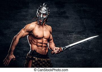 sterke, gladiator, met, zwaard, in, zijn, handen