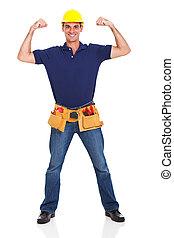 sterke, handyman, het poseren
