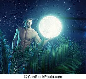 sterke, held, verdragend, de, helder, maan