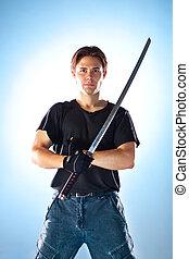 sterke man, met, samurai zwaard