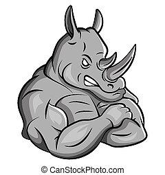 sterke, neushoorn, mascotte
