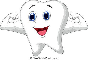 sterke, spotprent, tand
