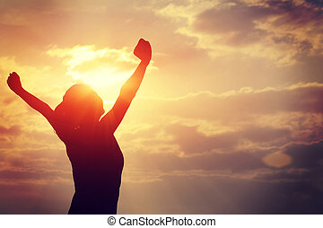 sterke, vertrouwen, vrouw, openen armen