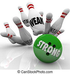 sterke, vs, zwak, bowling, concurrerend, voordeel, kracht,...
