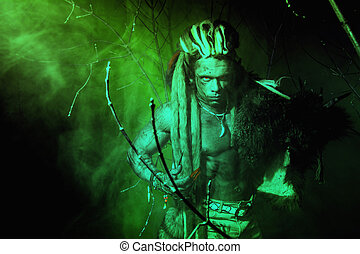 sterke, werewolf, demon, tussen, de, bomen, in, de, fog.