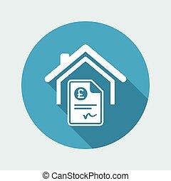 sterlina, casa, costo, -, icona