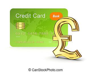 sterlina, credito, segno., libbra, scheda