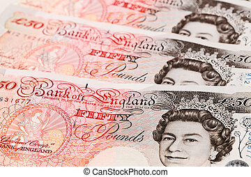 sterlina, libbra, affari, note, 50, closeup, fondo, banca,...