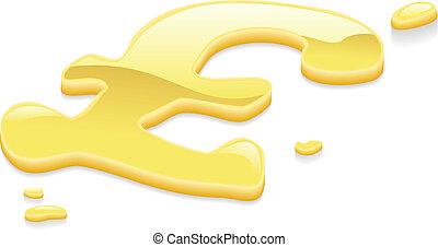 sterlina, libbra, oro liquido, simbolo, metallo