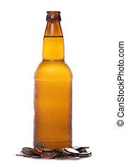 sterlina, soldi, bottiglia birra