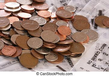 sterlina, soldi, monete, borsa