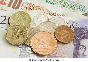 sterlina, soldi, note, monete, regno unito