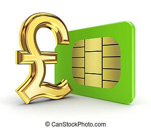 sterling, pfund, card., sim, zeichen