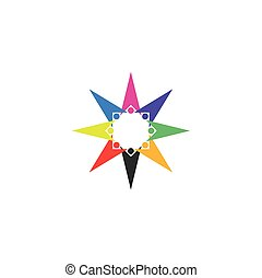 stern, bunte, leute, form, vektor, mannschaft, logo, ikone