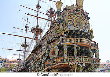 Stern Galeone Neptune - Stern ship Galeone Neptune in the...