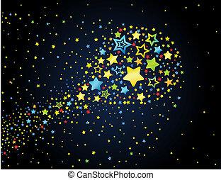 stern, gefärbt, karikatur, komet