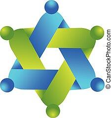 stern, geschäftsmenschen, form, gemeinschaftsarbeit, logo