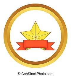 stern, gold, auszeichnung, vektor, geschenkband, ikone