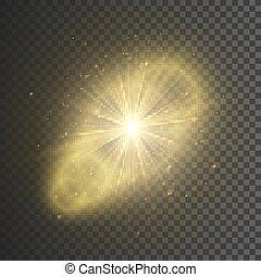 stern, gold, bersten, effect., licht, abbildung, vektor, sparkles., glitter., durchsichtig, glühen