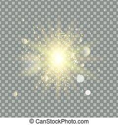 stern, gold, bersten, effect., licht, sparkles., vector., glitter., durchsichtig, glühen