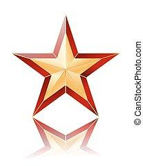 stern, gold, reflexion., abbildung, vektor, weiß rot