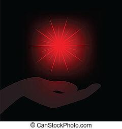 stern, handfläche, rotes