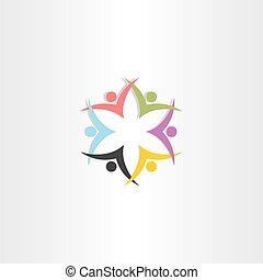 stern, leute verfärben, symbol, mannschaft, ikone
